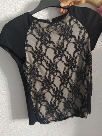 T-shirt Zara XS / preta e branca rendada / em óptimo estado