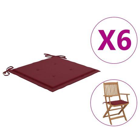 vidaXL Almofadões cadeiras jardim 6pcs 40x40x4cm tecido vermelho tinto 314022
