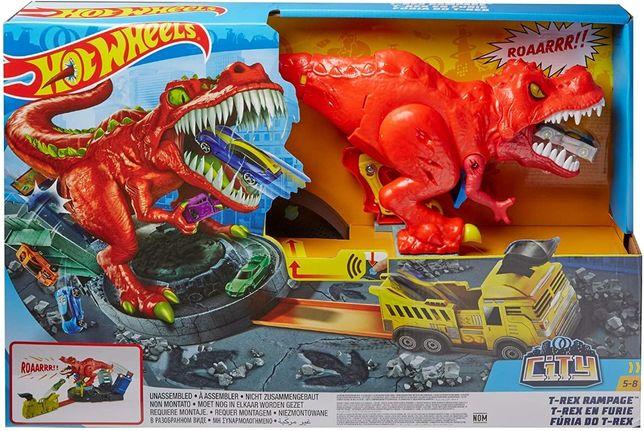 Трек Хот Вилс Злой голодный динозавр Ти-Рекс Hot Wheels T-Rex Rampage