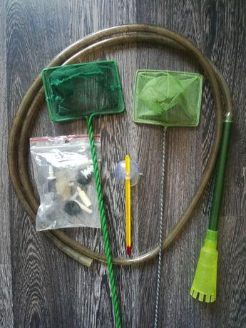 Аквариумный набор: 2 сачка, градусник, шланг с насадкой