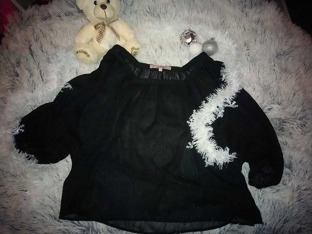 Bluzka czarna S nietoperz KappAhl ze srebrnymi wstawkami