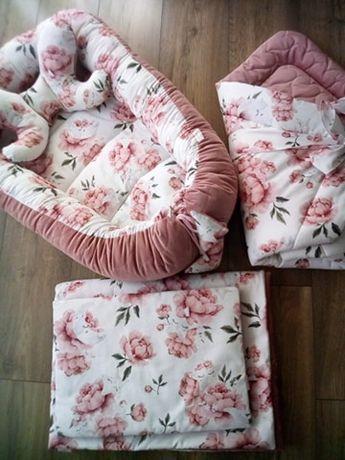 Zestaw Premium 5 el. kokon, rożek kocyk, poduszeczka,motylek nr-008