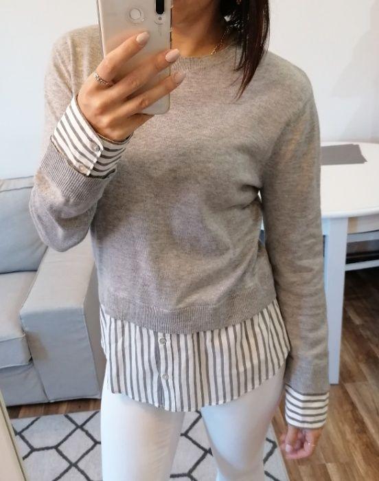 Sweter H&M z imitacją koszuli basic szary biały basic XS paski Legnica - image 1
