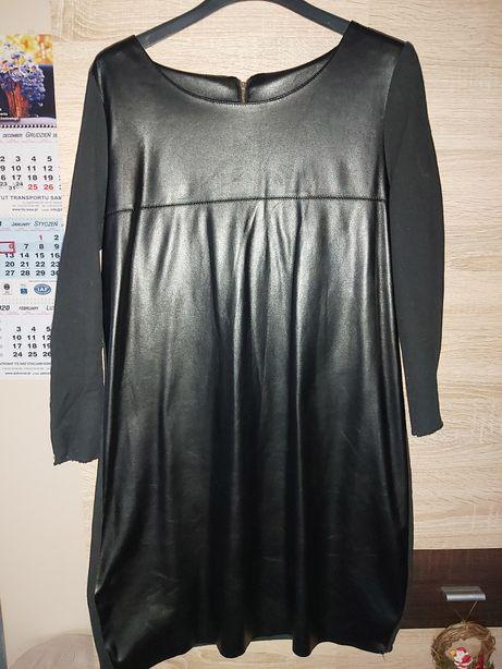Sukienka tunika z Eko skóry czarna t. 40, 42
