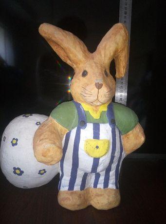 Винтаж игрушка заяц пасхальный кролик с яйцом папье-маше ручн.раб ссср