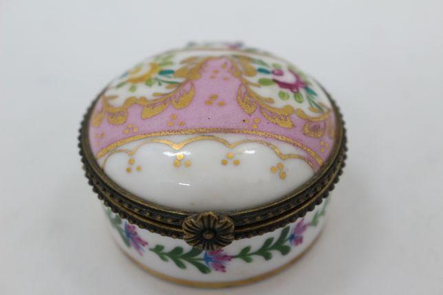 Caixa Porcelana Portuguesa Louças Falcão L. F. Rosa Pintada à Mão