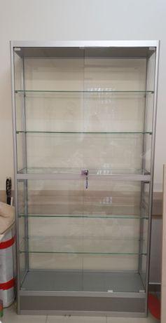 Стеклянная витрина-шкаф из алюминиевого профиля