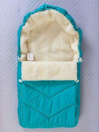 Конверт в коляску зимний бирюзовый