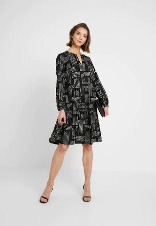 Nowa luźna sukienka koszulowa elegancka czarna geometryczny wzór 40 L