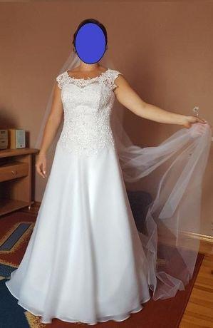 Super okazja! Suknia ślubna 38/40- koronka i muślin + długi welon