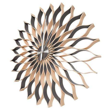 Duży drewniany, nowoczesny zegar - 88cm