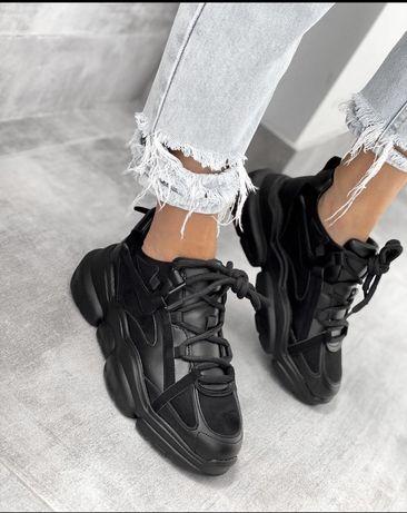 Кроссовки черного цвета кожа+замш