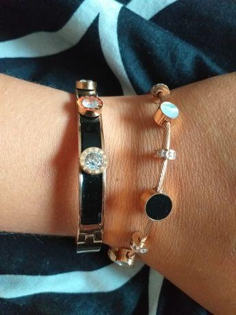Piękna elegancka czarna bransoletka celebrytka kamienie bransoleta