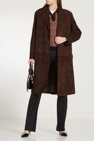 Замшевое женское Пальто коричневое шоколадное миди