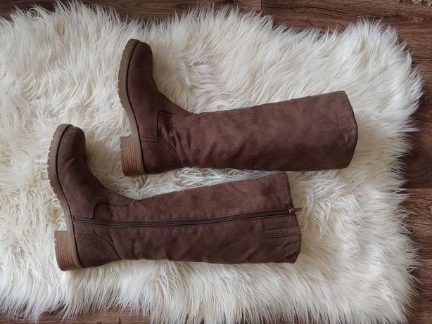 Buty brązowe zimowe ocieplane