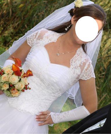 Suknia ślubna rozmiar 36/38 biała z kamyczkami Swarovskiego + GRATISY