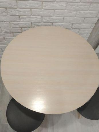 Круглый кухонный стол (Пехотин) Боярин Дуб молочный с табуретами