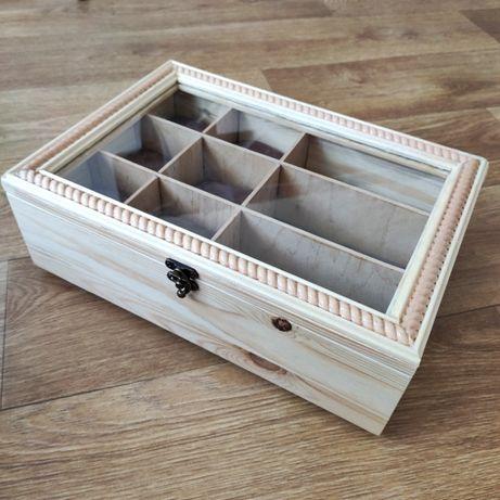 органайзер шкатулка для часов и очков из дерева под стеклом