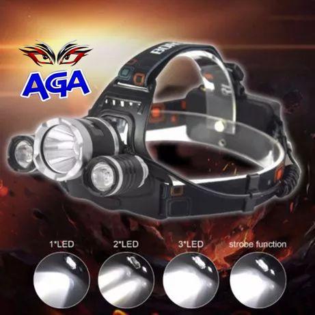 Latarka Lampka Czołowa 3 LED T6 + Akumulatory