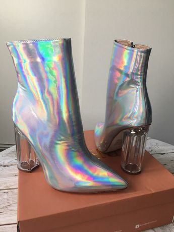 BEBO Ellia botki hologram srebrne rozmiar 38 obcas klocek NOWE