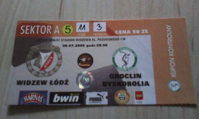 bilet Widzew Łódź -Groclin Dyskobolia Grodzisk Mazowiecki 28.07.2006 r