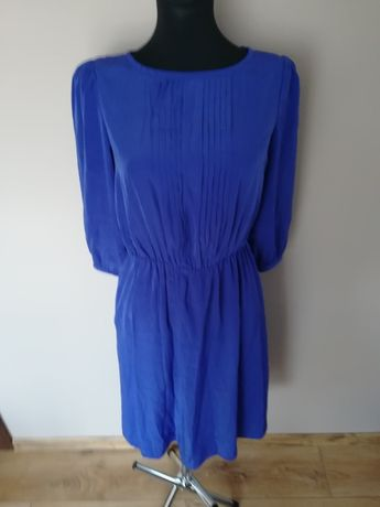Sukienka midi niebieska chabrowa Mango
