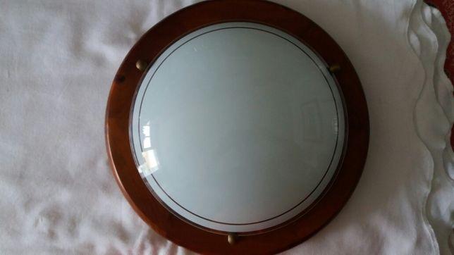 Candeeiro plafom diametro 33/ 28 cm aro em madeira novo