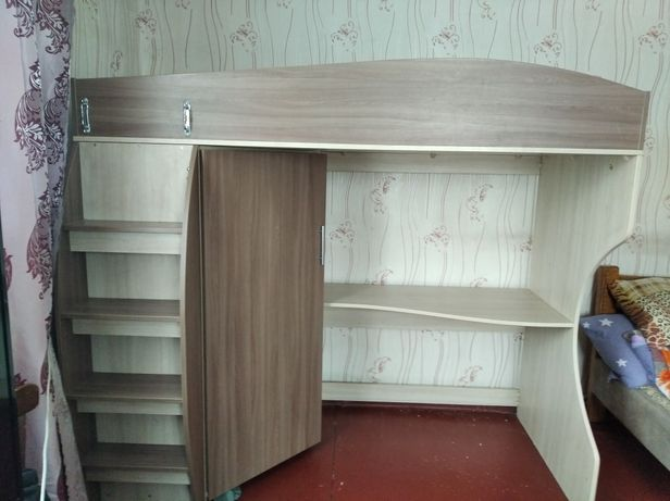 Кровать Детская , с шкафом и полкой