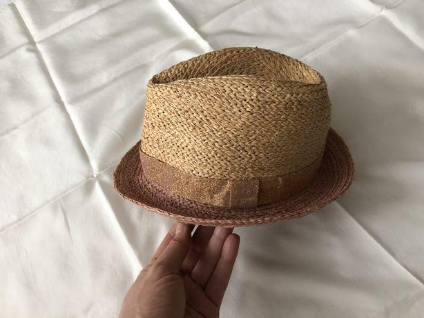 Шляпка, панамка для девочки. Нюдовый.52 см. Солома 100%