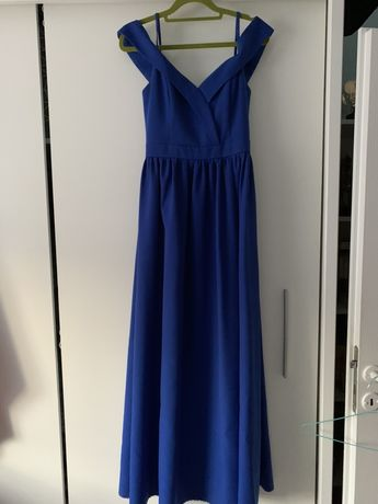 Chabrowa, długa sukienka.