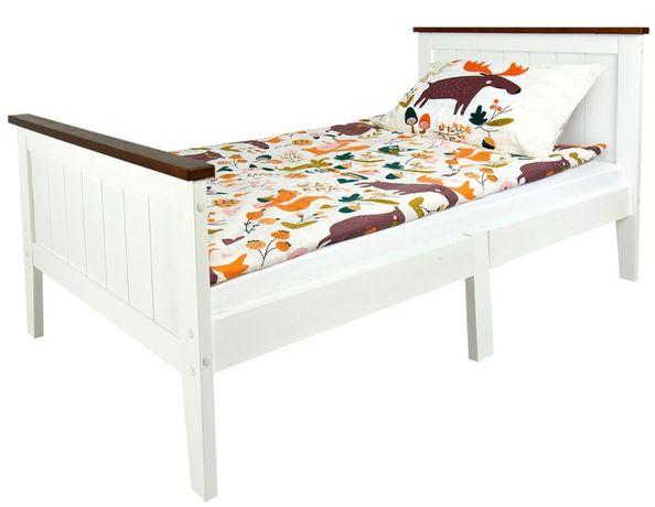 Drewniane łóżko białe Paris Walnut 140/70 z materacem 102/246231