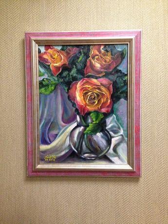 "Картина ""Три розы"". Холст, масло. 40/50см"