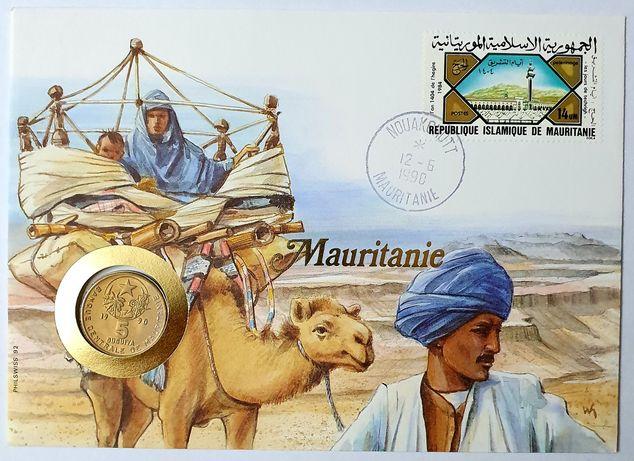 MAURETANIA list numizmatyczny z monetą