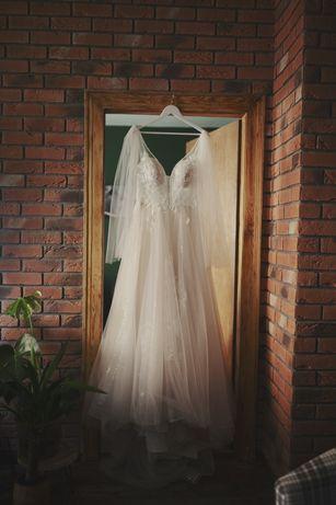 Suknia ślubna hafty tren cekiny 171cm