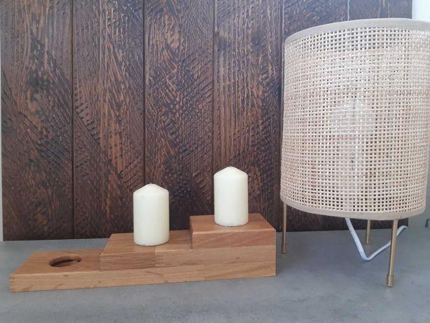 Drewniany świecznik vintage/boho