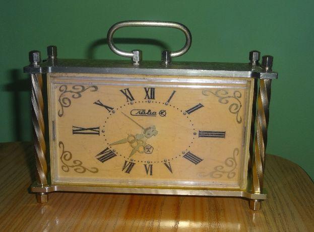 Stary zegar budzik ozdobny dekoracyjny kolor złoty złoty zsrr