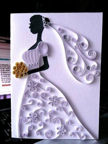Kartki ślubne/ ręcznie robione / quilling