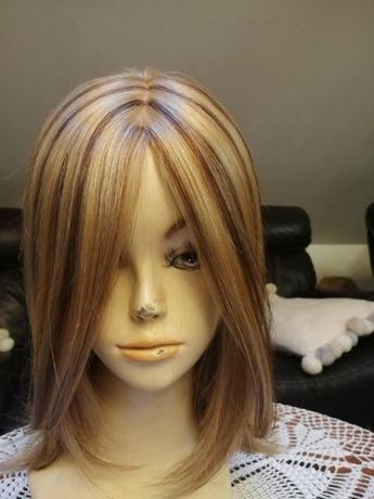 Peruka naturalne słowiańskie lace front jasny ciepły blond balejaż