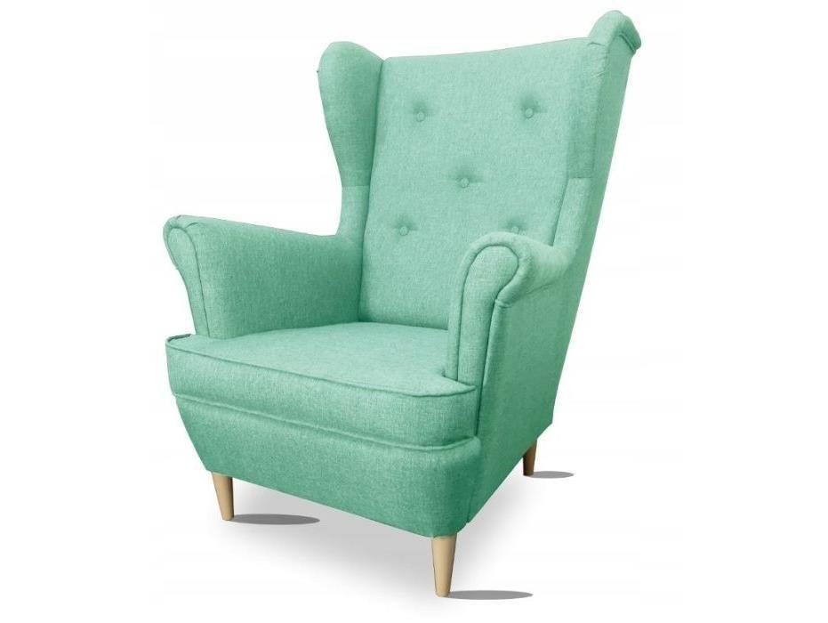 Fotel uszak LOKI groszkowy tkanina pleciona sawana inari soro royal