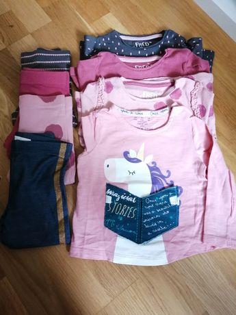Ubranka, spodnie, leginsy, bluzki, bluzeczki, zestaw r. 74