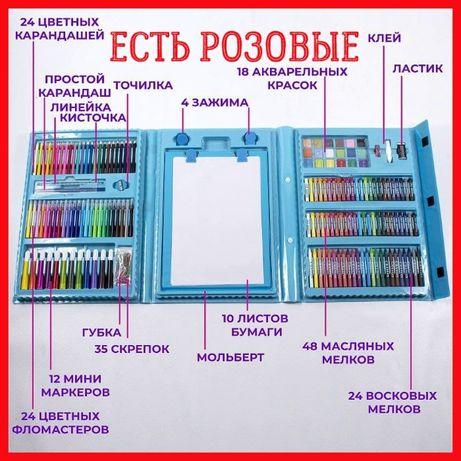 Чемодан для творчества 208, большой набор карандашей, маркеров, красок