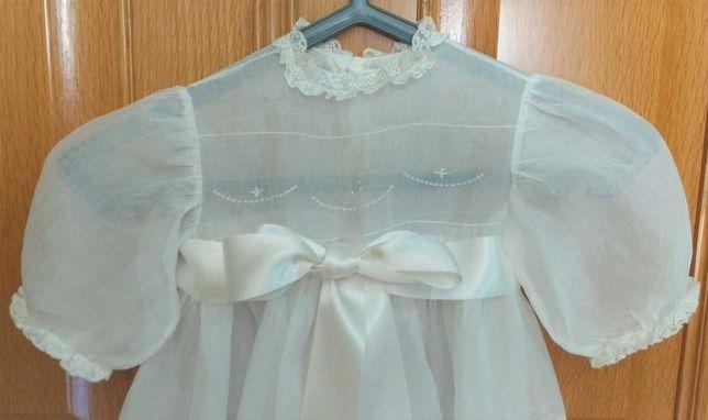 Vestido de Batizado Vintage, Comprido, Manga Curta - Menino ou Menina