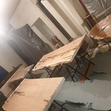 Blat dębowy monolit drewniany suchy po cnc szlifowany żywica stół wood