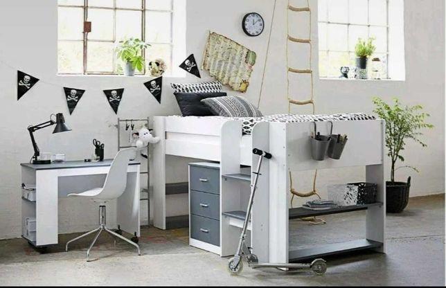 Zestaw mebli dziecięcych - łóżko piętrowe, biurko, szafka z szufladami