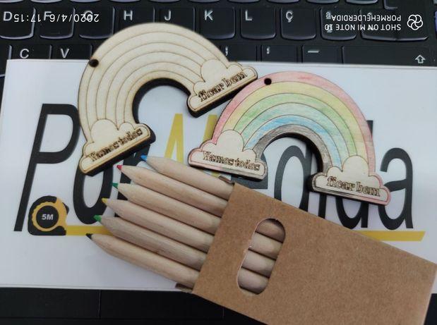 arco iris porta chaves para pintar