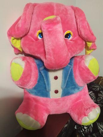 Велика м'яка іграшка розовий слоник