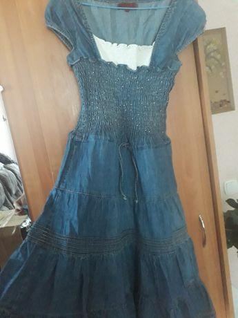 сарафан,платье джинсовые с резинкой на талии