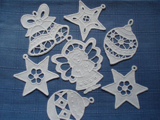 ozdoby świąteczne, ręczna haft Richelieu