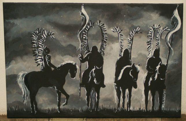 Obraz Husaria black and white 40x60 cm akryl na płótnie ręcznie malowa