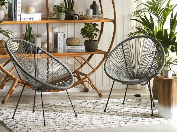 Conjunto de 2 cadeiras de jardim em rattan sintético cinzento escuro ACAPULCO II - Beliani